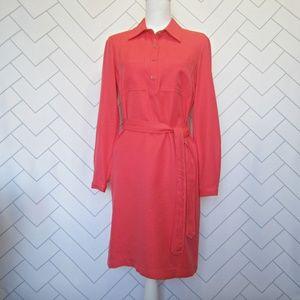 Nine West Tie Waist Coral Pink Career Shirt Dress